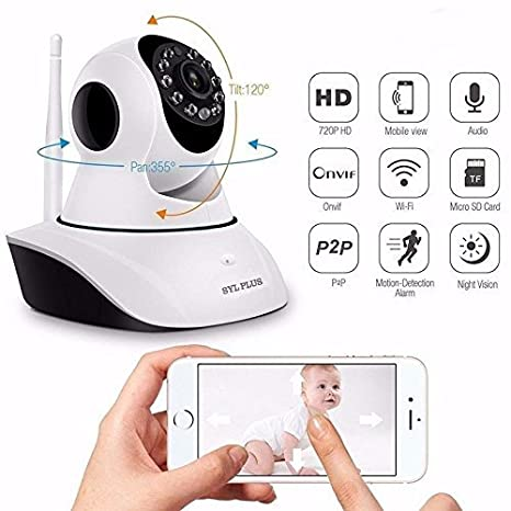 Aceful Mi 5s Plus Compatible Wireless 4x Digital Zoom 2Way Chat HD IP CCTV Camera for Indoor Outdoor Use with Wifi Stream Live Video in Mobile/Laptop